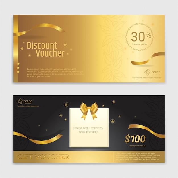 Bon cadeau, certificat, coupon de paillettes d'or pour les fêtes Vecteur Premium