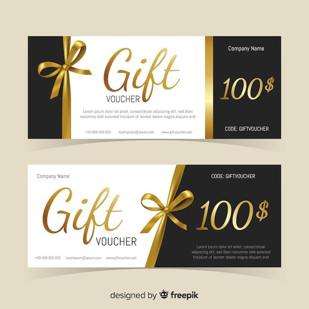 Bon Cadeau Doré Vecteur Premium