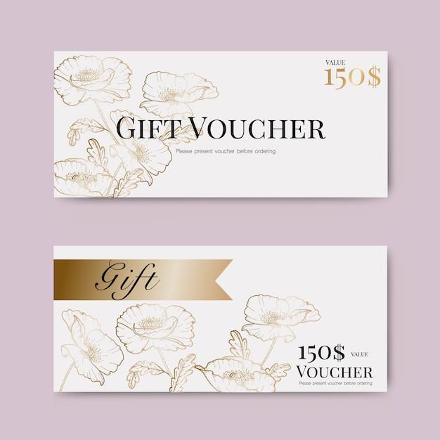 Bon cadeau avec fleur d'or Vecteur Premium