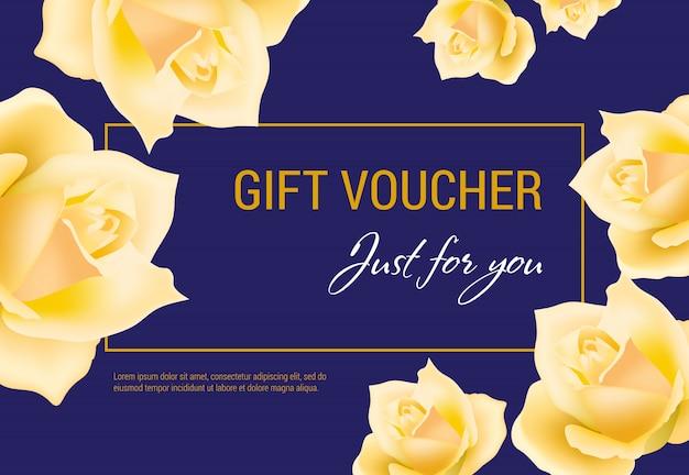 Bon cadeau juste pour vous lettrage avec des têtes de roses jaunes. Vecteur gratuit