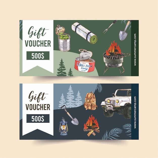 Bon de camping avec illustrations illustrant une fourgonnette, de la nourriture, un sac à dos et une pelle. Vecteur gratuit