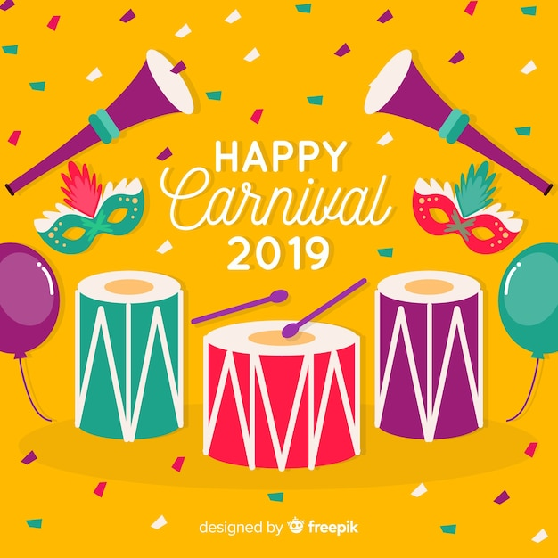 Bon carnaval 2019 Vecteur gratuit