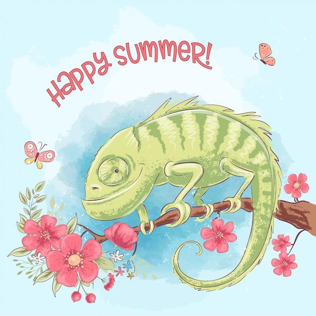 Bon été. caméléon mignon sur une branche et des fleurs. style de bande dessinée. vecteur Vecteur Premium