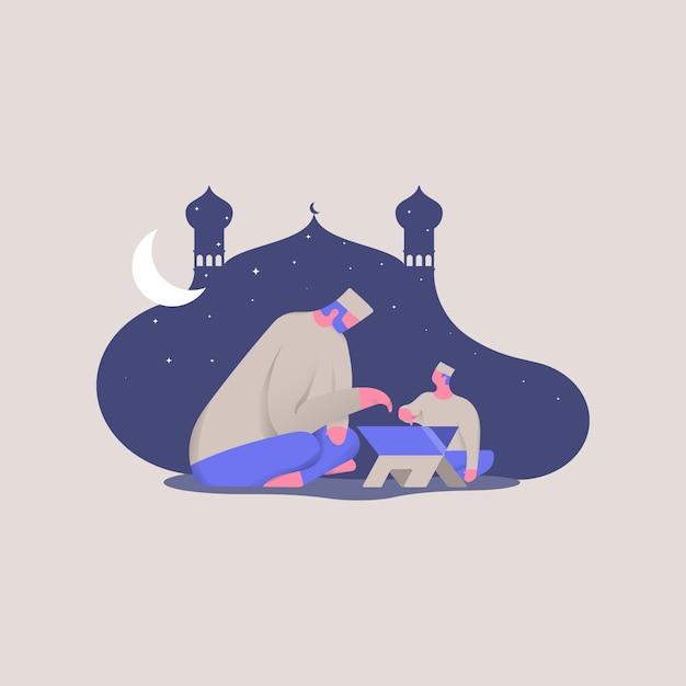 Bon Ramadan Kareem. Père Et Fils Lisent Illustration De Concept De Coran Vecteur Premium