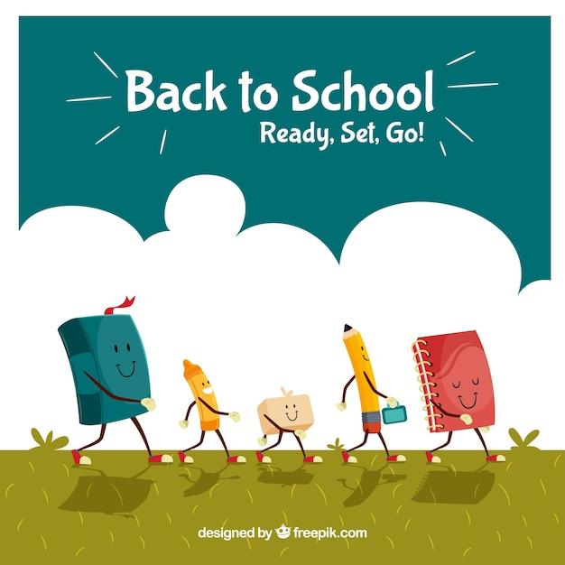 Bon retour au milieu scolaire avec les personnages du matériel scolaire Vecteur gratuit