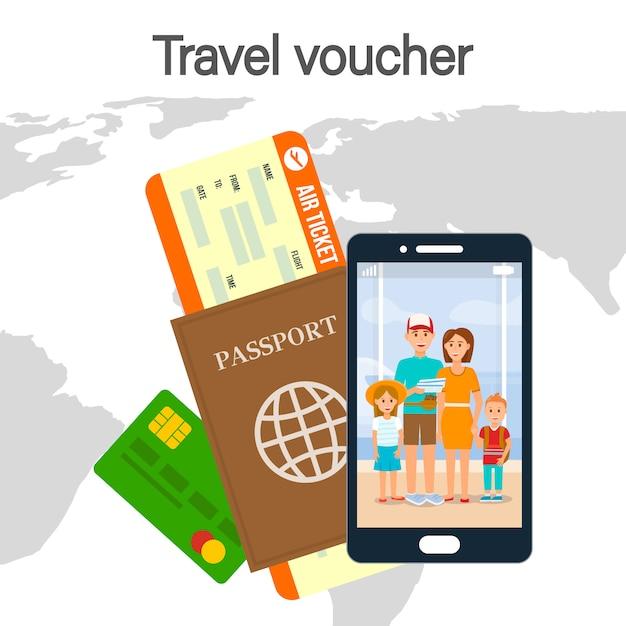 Bon de voyage lettrage couleur vector illustration Vecteur Premium