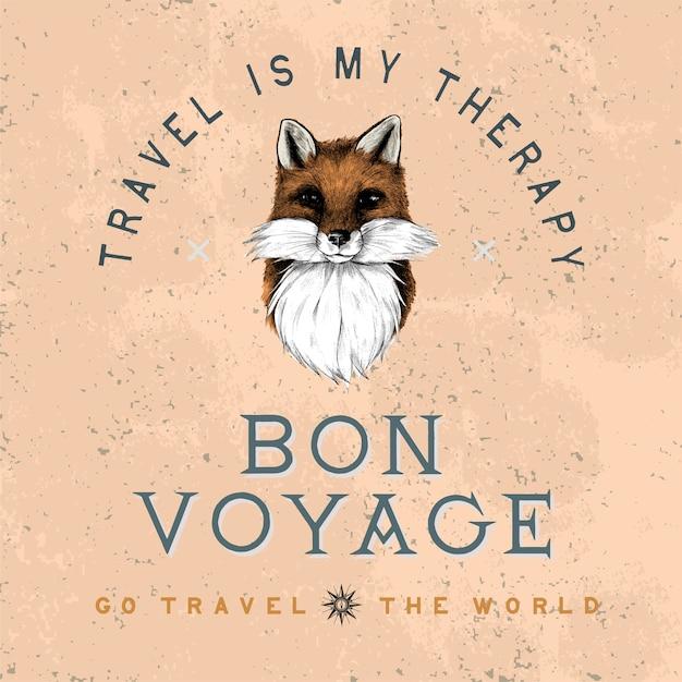Bon voyage logo design vectoriel Vecteur gratuit