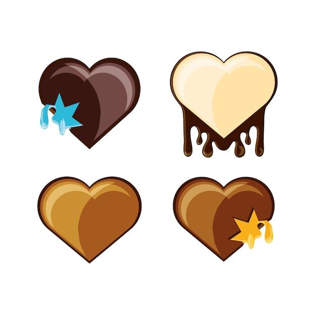 Bonbons au chocolat en forme d'icône en forme de coeur Vecteur Premium