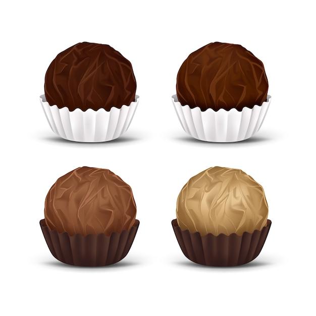 Bonbons Au Chocolat Rond Dans Un Emballage En Papier Ondulé Vecteur gratuit