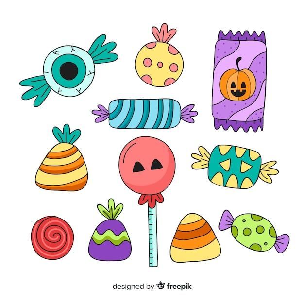 Bonbons aux couleurs traditionnelles des vacances d'octobre Vecteur gratuit