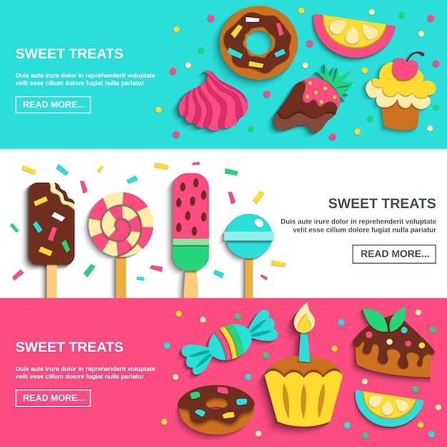 Bonbons Bonbons Bannières Horizontales Plates Vecteur gratuit