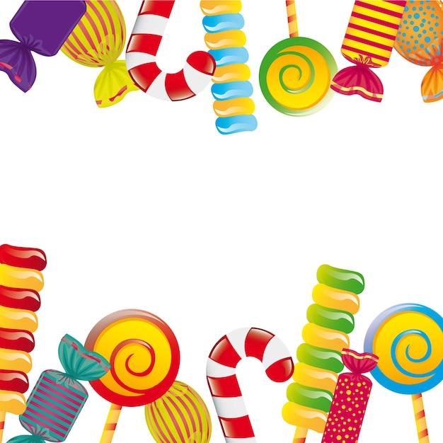 Bonbons colorés sur l'illustration vectorielle fond blanc Vecteur Premium
