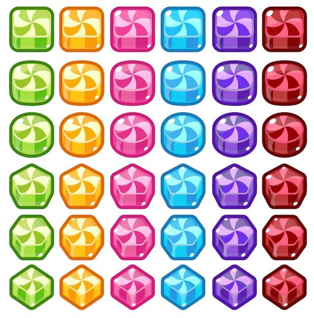 Bonbons colorés match trois Vecteur Premium