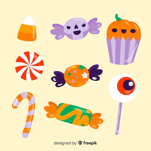 Bonbons d'halloween dessinés à la main Vecteur gratuit