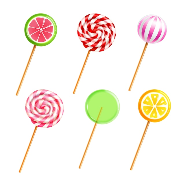 Bonbons lollipops bonbons set Vecteur gratuit