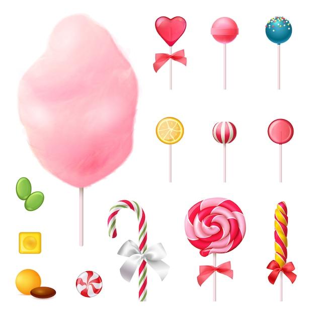 Bonbons réaliste icons set Vecteur gratuit