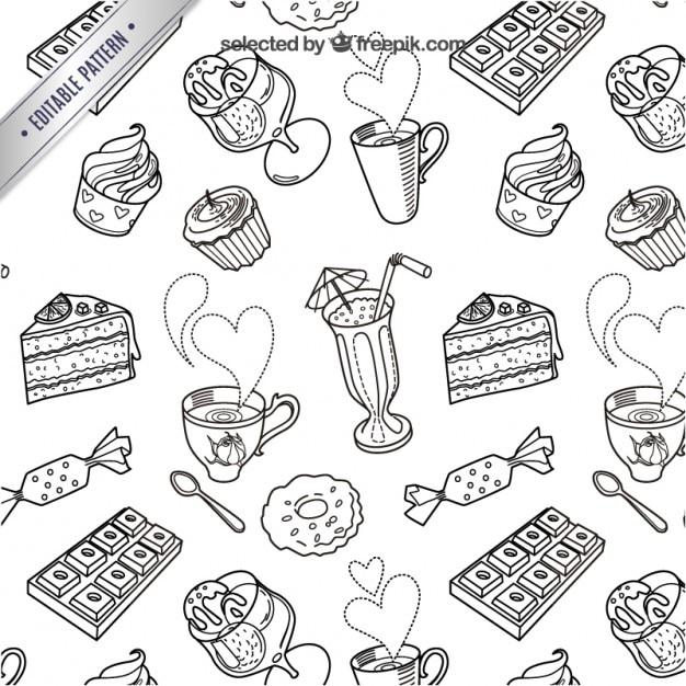 Bonbons sketchy motif Vecteur gratuit