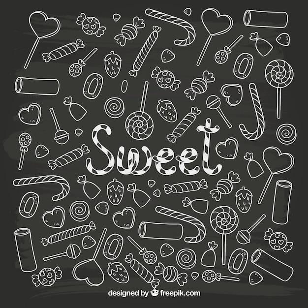 Bonbons sketchy Vecteur gratuit