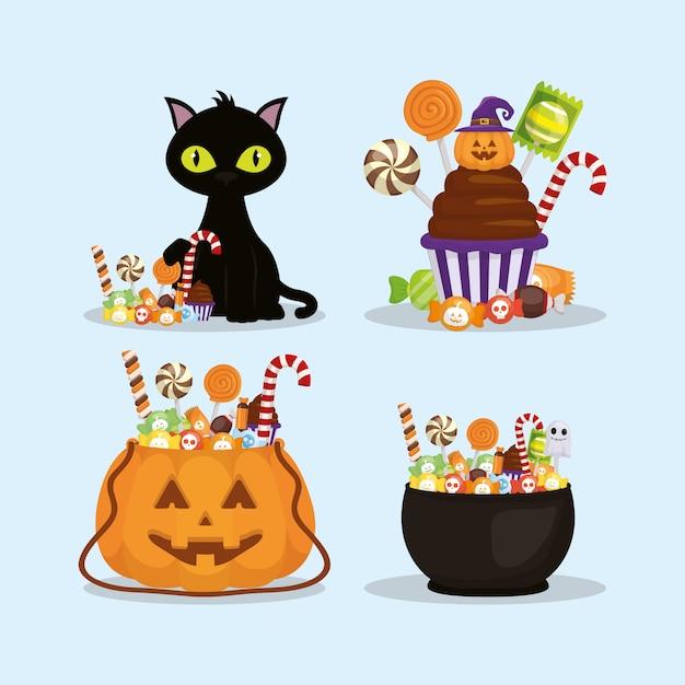 Des bonbons ou un sort, joyeux halloween Vecteur gratuit