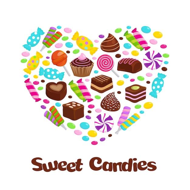 Bonbons sucette au caramel et bonbons au chocolat plats icônes en forme de coeur Vecteur Premium