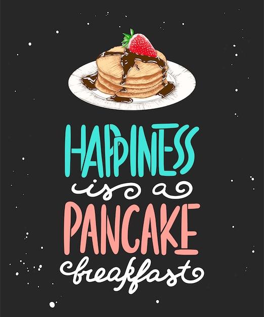 Le bonheur est un petit déjeuner aux crêpes, un croquis Vecteur Premium