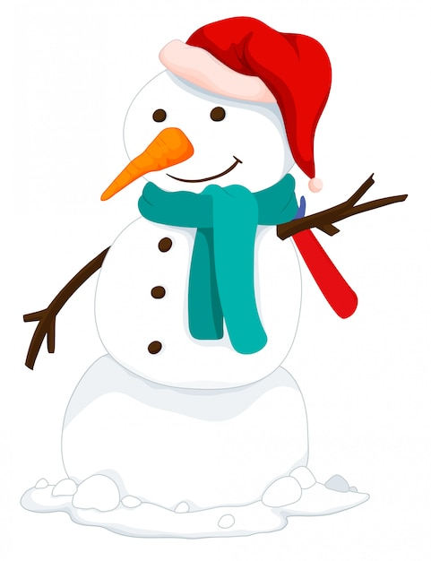 Bonhomme de neige avec bonnet et écharpe Vecteur gratuit