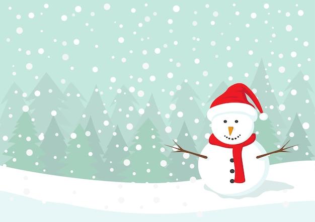 Bonhomme De Neige Avec Chapeau Rouge Et écharpe Vecteur Premium