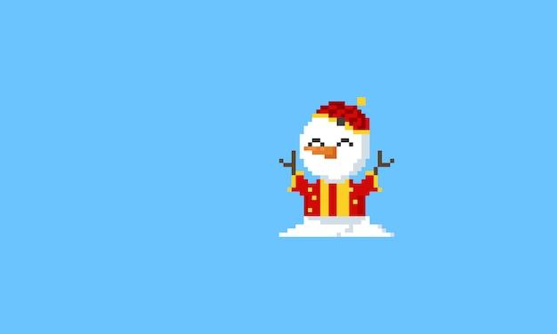 Bonhomme de neige en costume chinois Vecteur Premium