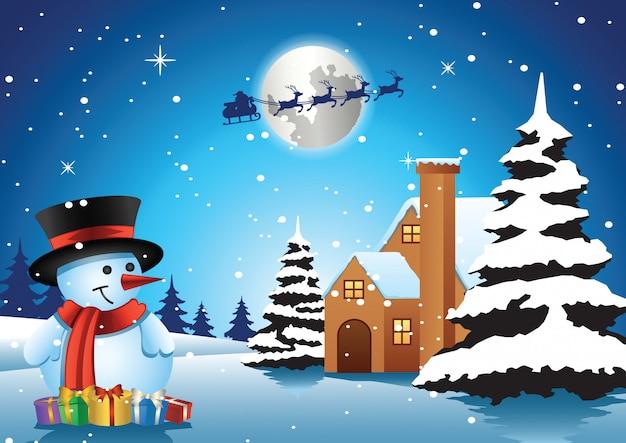 Bonhomme de neige debout devant la maison solitaire la nuit de noël et le père noël s'envole Vecteur Premium