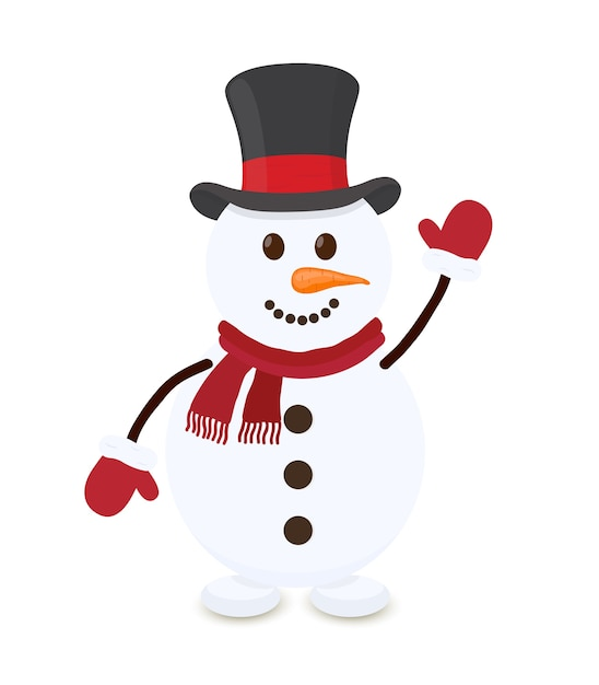 Bonhomme de neige en dessin animé, joyeux personnage de noël Vecteur Premium