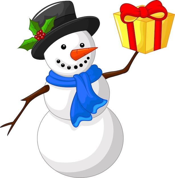 Bonhomme de neige dessin animé mignon avec cadeau Vecteur Premium