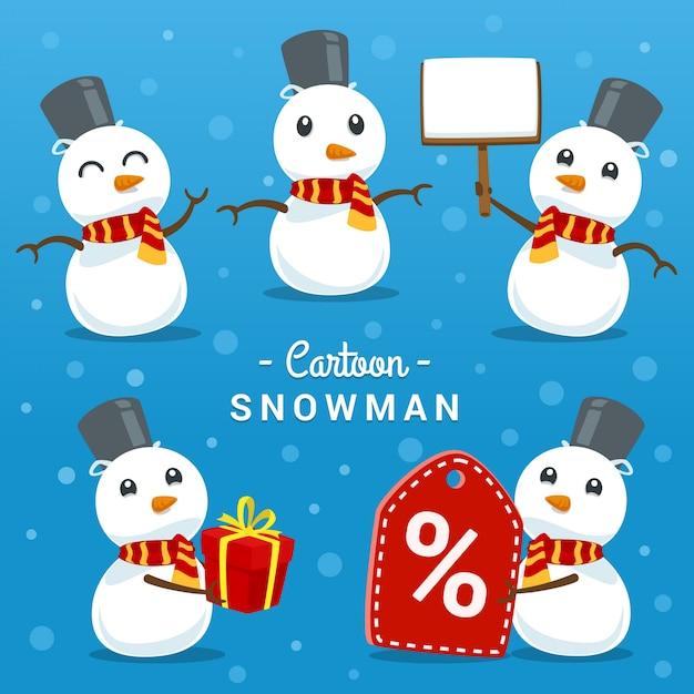 Bonhomme de neige dessin animé mignon pose ensemble de modèles de geste Vecteur Premium
