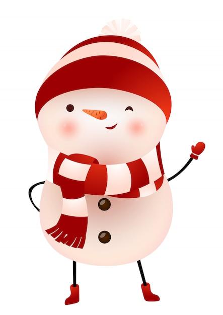 Bonhomme de neige en écharpe et bonnet faisant un clin d'oeil et agitant illustration Vecteur gratuit