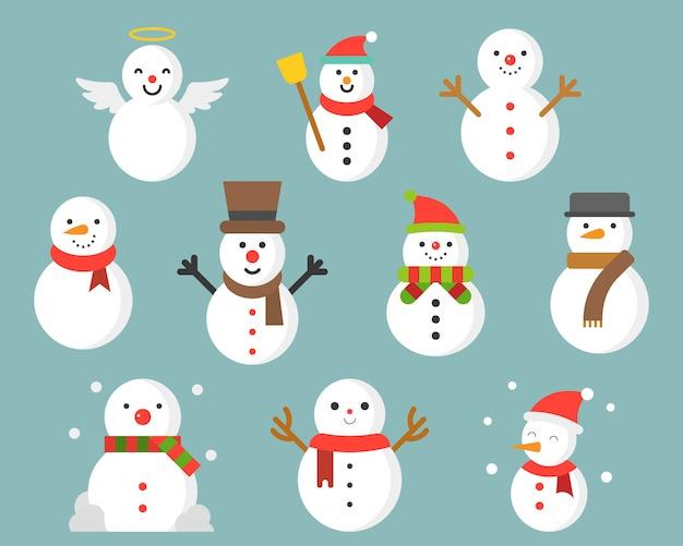 Bonhomme de neige icône hiver et noël Vecteur Premium