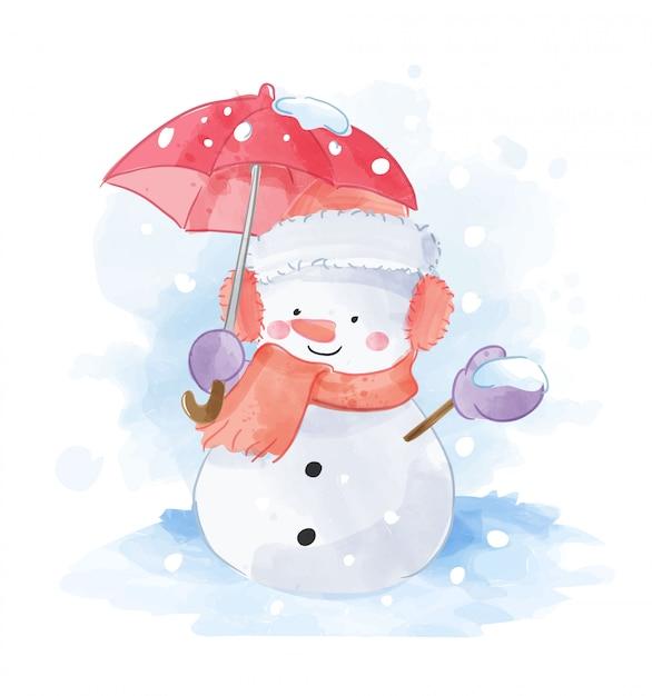 Bonhomme De Neige Avec Illustration De Parapluie Rouge Vecteur Premium