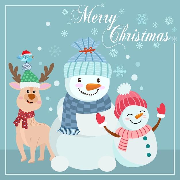 Bonhomme de neige mignon et cerf sur la carte de noël fond bleu. Vecteur Premium