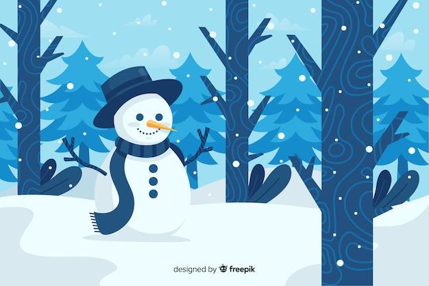 Bonhomme de neige mignon avec chapeau haut de forme dans la forêt Vecteur gratuit