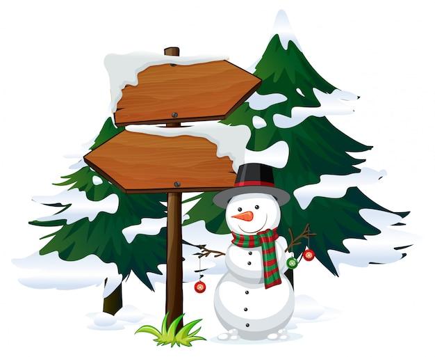 Bonhomme de neige avec modèle de panneau Vecteur gratuit