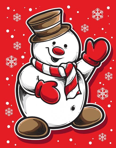 Bonhomme De Neige Noel | Vecteur Premium
