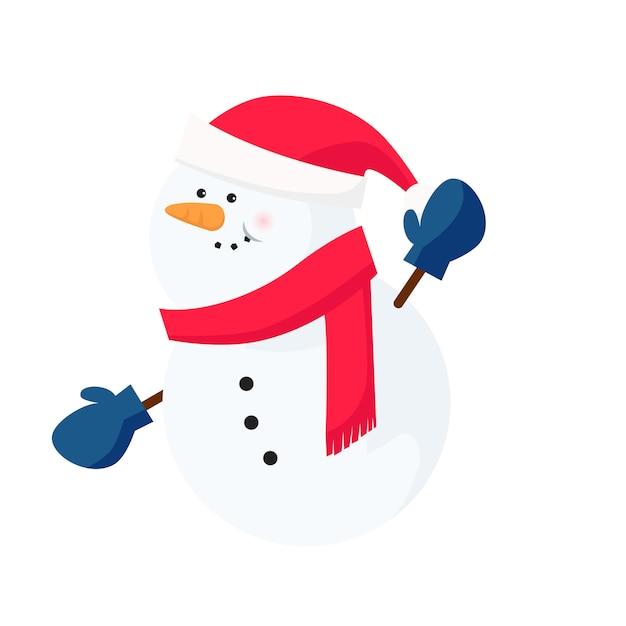 Bonhomme de neige portant une écharpe et des mitaines de santa Vecteur gratuit