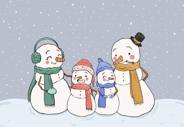 Bonhommes de neige mignons restant dans la neige Vecteur gratuit