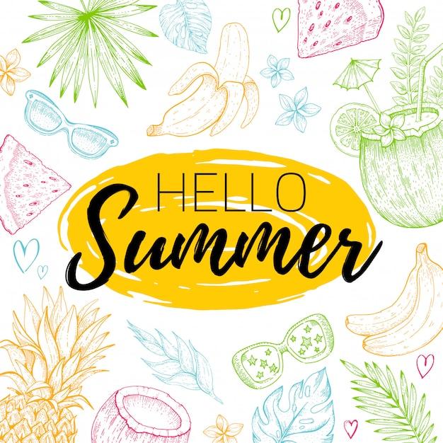 Bonjour affiche d'été ou carte de voeux avec feuille de tropique, nourriture, modèle sans couture de fruits. dépliant de griffonnage dessiné à la main. Vecteur Premium