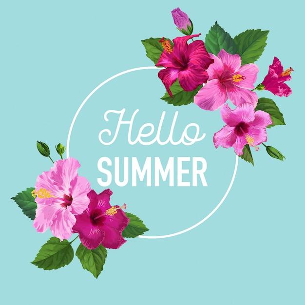 Bonjour affiche d'été. design floral avec fleurs d'hibiscus pourpres pour t-shirt Vecteur Premium