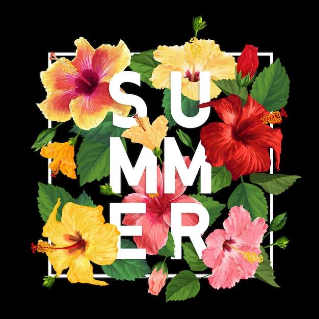 Bonjour affiche d'été. design floral avec des fleurs d'hibiscus rouges et jaunes pour t-shirt Vecteur Premium