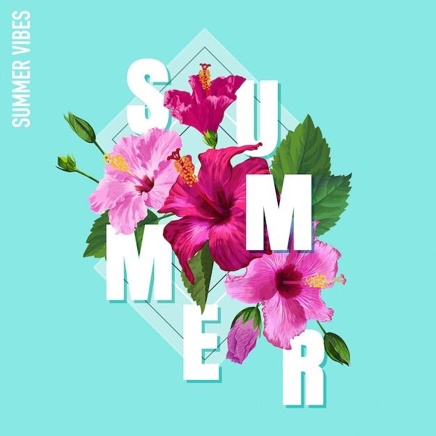 Bonjour Affiche D'été Design Floral Fleurs D'hibiscus Vecteur Premium