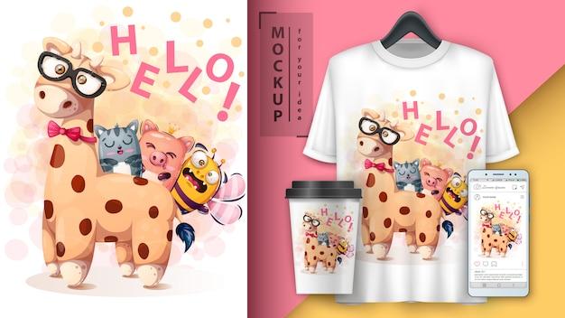 Bonjour Amis Affiche Et Merchandising Vecteur Premium