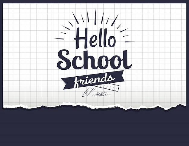 Bonjour les amis d'école Vecteur Premium