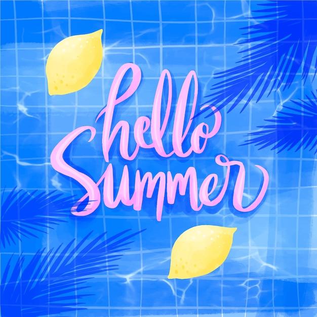 Bonjour Aquarelle D'été Avec Des Citrons Vecteur gratuit