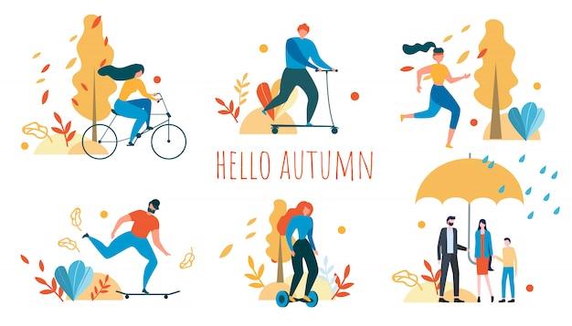 Bonjour, automne, activité de plein air avec les personnes de la bande dessinée Vecteur Premium