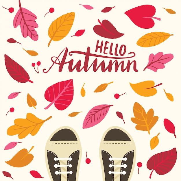 Bonjour l'automne avec les feuilles et les bottes Vecteur Premium
